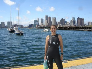 At the starting line before swimming across Boston Harbor in Sharkfest 2013